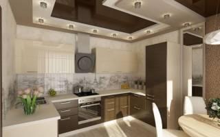 Интерьер кухни с натяжными потолками