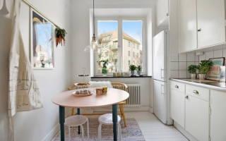 Интерьер кухни с круглым столом фото