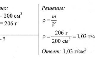 Формула расчета объема по плотности