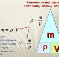 Объем и масса формула