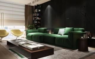 Интерьер гостиной с зеленым диваном