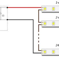 Подключение светодиодной ленты к блоку питания 12в