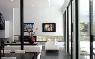 Интерьер гостиной в черно белых тонах