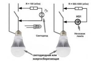 Почему лампочка мигает когда свет выключен