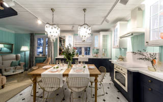 Интерьер гостиной совмещенной с кухней в доме