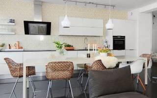 Интерьер кухни гостиной в скандинавском стиле