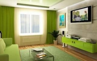 Интерьер гостиной с зеленым цветом