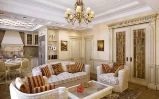 Интерьер кухни гостиной в классическом стиле