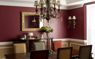 Интерьер гостиной в бордовом цвете