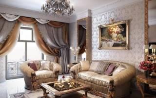 Интерьер гостиной в классическом стиле в доме