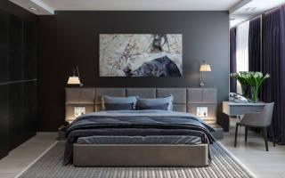 Дизайн спальни темные стены
