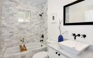 Дизайн узкой ванной комнаты с туалетом