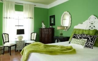 Дизайн спальни зеленого цвета