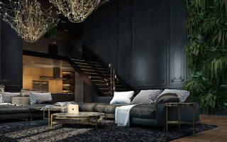 Интерьер гостиной в темных тонах