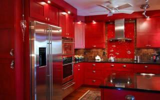 Интерьер кухни красного цвета