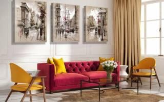 Интерьер гостиной модульные картины