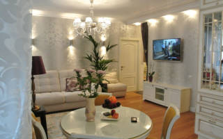 Интерьер гостиной в современном стиле эконом класса