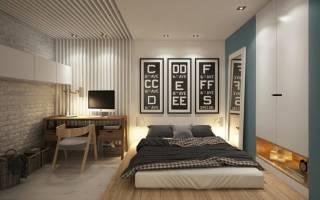 Дизайн спальни с обоями двух