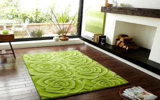 Зеленый ковер в интерьере