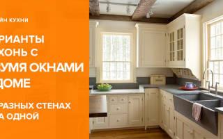 Интерьер кухни с 2 окнами