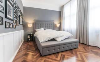 Дизайн спальни в сером тоне