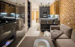 Интерьер кухни гостиной 17