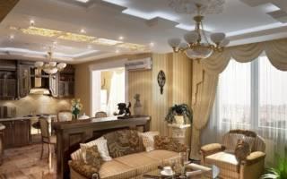 Интерьер кухни гостиной в классическом стиле фото