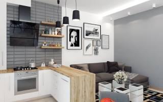 Интерьер кухни в студии