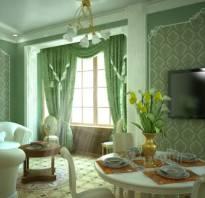 Интерьер гостиной зеленые обои