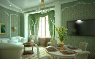 Интерьер гостиной с зелеными обоями