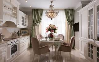 Интерьер кухни гостиной классика