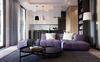 Интерьер гостиной с кухней в квартире фото