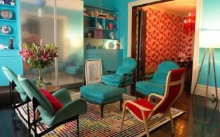Интерьер гостиной в бирюзовом цвете