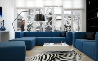 Интерьер гостиной с синим диваном фото
