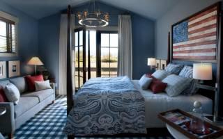 Дизайн спальни в синих тонах фото