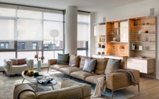 Интерьер гостиной в бежево коричневых тонах